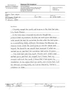 Dustin's Missionary Call Acceptance