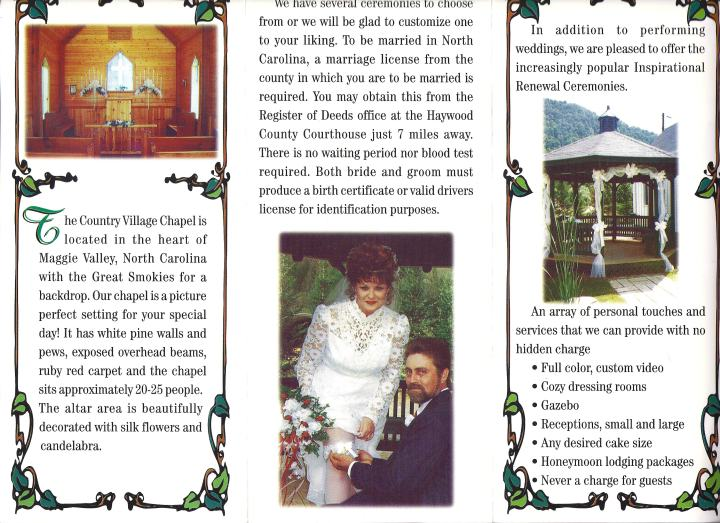 Trash: The brochure for Miss Carolina's Country Wedding Chapel in Maggie Valley, North Carolina.