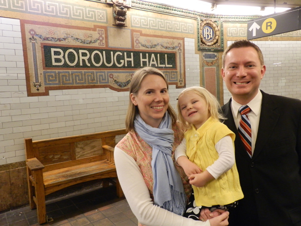 We took this photo in the Borough Hall subway station in downtown Brooklyn on Sunday, 9 December 2012. Fiona was remarkably cooperative (relative to her normal behavior when she sees a camera).