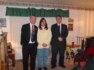 Elder Joyce and his last mission companion, Elder Galbraith, with Denice.