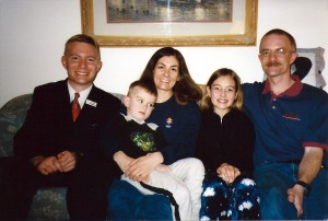 Elder Joyce with the Burks in February 2002.