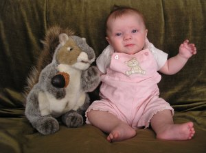 Fiona and her pet squirrel, Dinky.