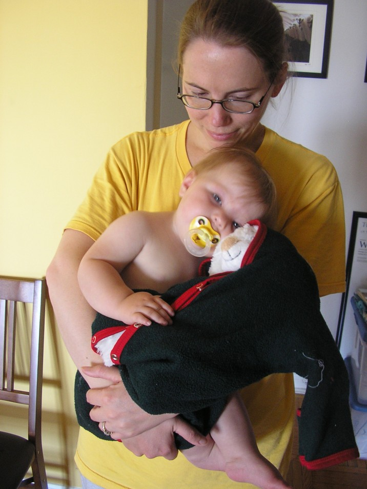 Fiona gets cuddly in Susan's arms. Fiona wasn't normally like this at the time; this cuddliness was mostly due to being sleepy. But as she's gotten older she's gotten much more cuddly.