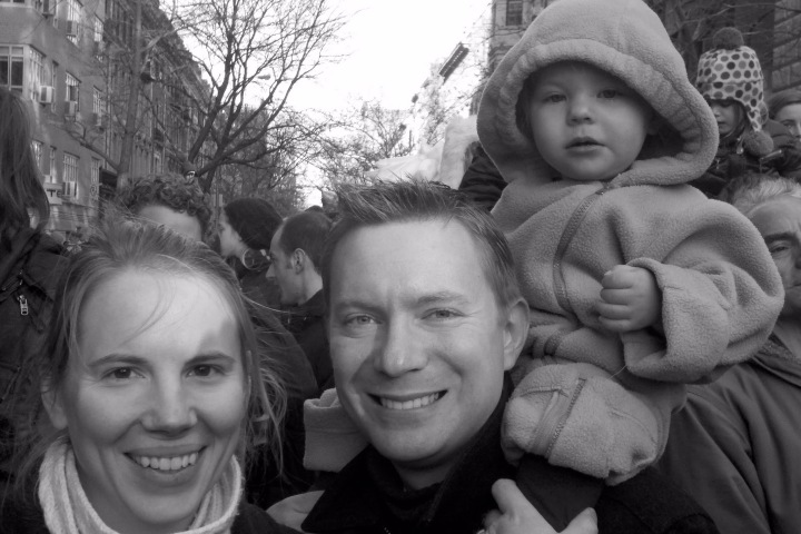 Susan, Dustin, and Fiona at the Macy's Thanksgiving Day Parade, 24 November 2011.