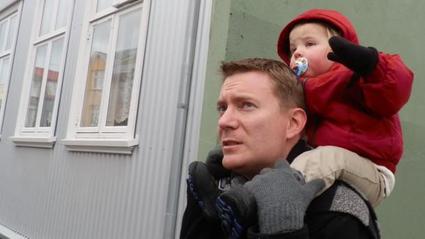 Dustin with Fiona in Reykjavík, Iceland, 25 February 2012.