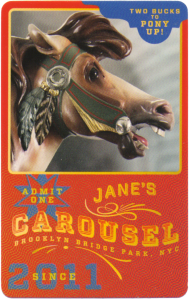 A beautiful ticket from Jane's Carousel here in Brooklyn.