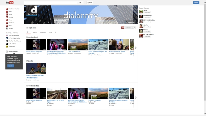 DialannTV's upgraded look using YouTube's new One Channel design.