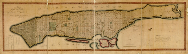 William Bridges's map of Manhattan's future, 1814. This map is a copy of cartographer and surveyor John Randel's map of the Commissioners' Plan of 1811. Read more »