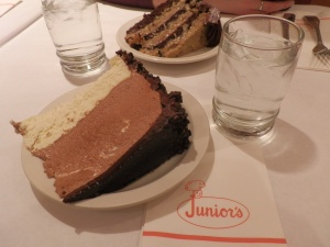 My 30th birthday cake: chocolate-mousse cheesecake at Junior's in Brooklyn.