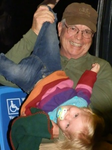 Fiona with her Papa on the B52 bus.