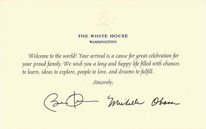 Birth congratulations card from the White House