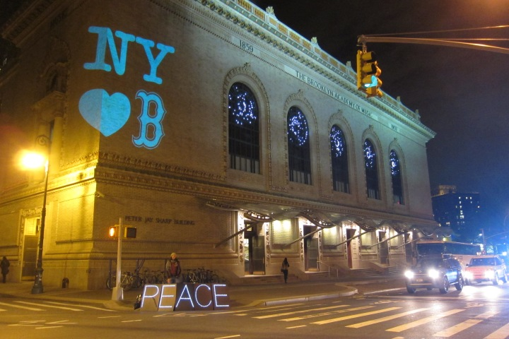 In the days after the bombing, a show of love from New York to Boston, projected onto the facade of the Brooklyn Academy of Music.