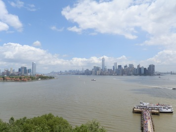 New York Harbor and the Manhattan skyline from the parapet at the top of the Statue of Liberty's pedestal.