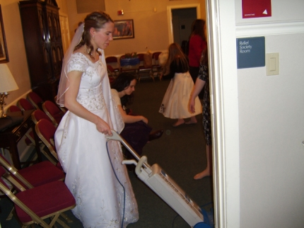 "According to Randy, ""You know it's a Mormon wedding when the bride vacuums."""