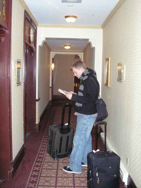 Dustin waits for the elevator in the Château Frontenac in Québec City.