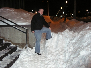 The snow was piled high. Real high. But it was no challenge for Dustin.