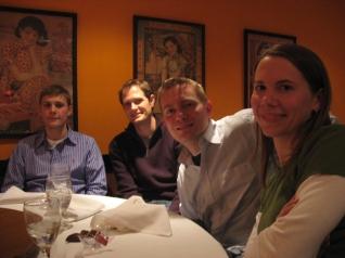 Matthew B., Matt H., Dustin, and Susan at dinner