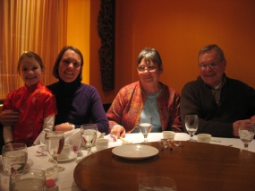 C.H.G., Karen, Mary, and David at dinner