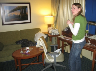 Susan in her hotel room