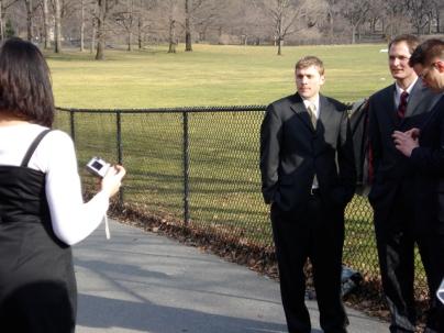 Rebecca snaps a photo of Matthew B., Matt H., and Dale.