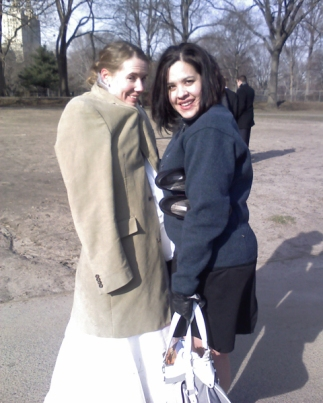 Susan and Rebecca, bundled against the cold.