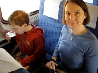 M.H.G. and Karen on the train to New York