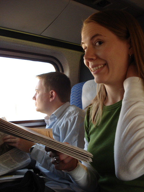 Dustin and Susan on the train to New York