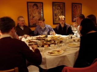 David, Matthew B., Matt H., and Dustin at dinner