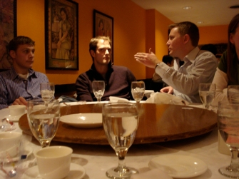 Matthew B., Matt H., and Dustin at dinner