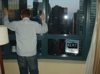 Dustin in his hotel room overlooking Times Square