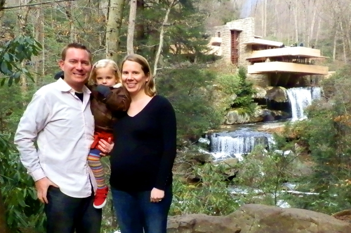 Dustin, Fiona, and Susan at Fallingwater, Mill Run, Pennsylvania, 30 November 2013.
