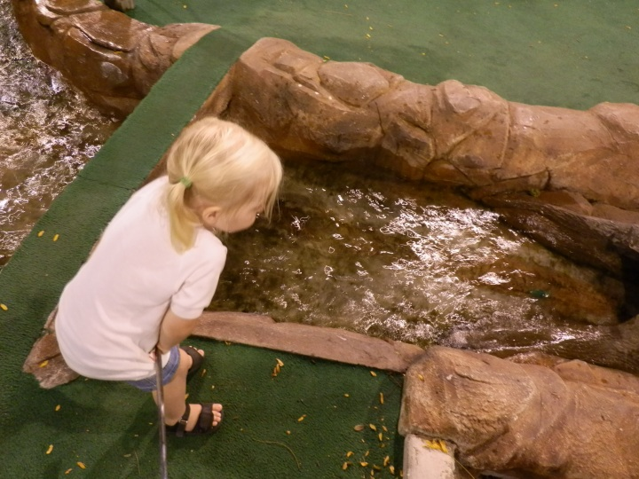 Fiona watches her green golf ball float down a stream on hole 15 at Pier 25 Mini Golf.