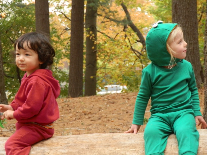 Fiona, in her frog costume on Halloween, and one of her forest school friends, Alyosha Kai, hang out on a log in the pine barrens at Forest Park, Queens.