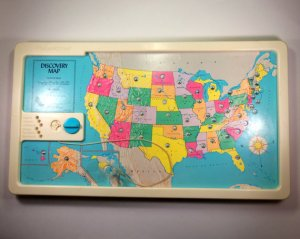 A Fisher-Price Discovery Map of the United States, vintage 1987, just like the one my Aunt Linda bought me when I was in 2nd grade that sparked my love of geography.
