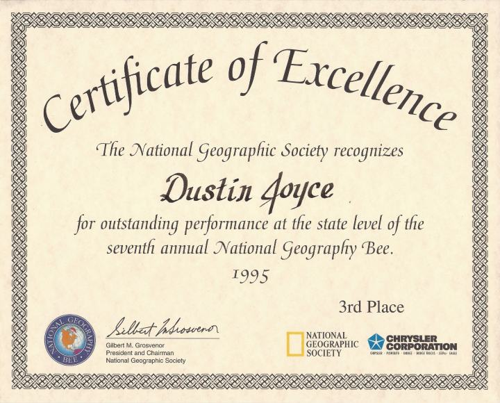 The certificate I received for my 3rd-place finish in the North Carolina state level of the 1995 National Geography Bee.