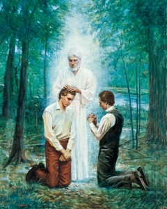 John the Baptist ordains the Prophet Joseph Smith and Oliver Cowdery to the lesser priesthood on the banks of the Susquehanna River near Harmony, Pennsylvania, 15 May 1829. (See Doctrine and Covenants 13.)