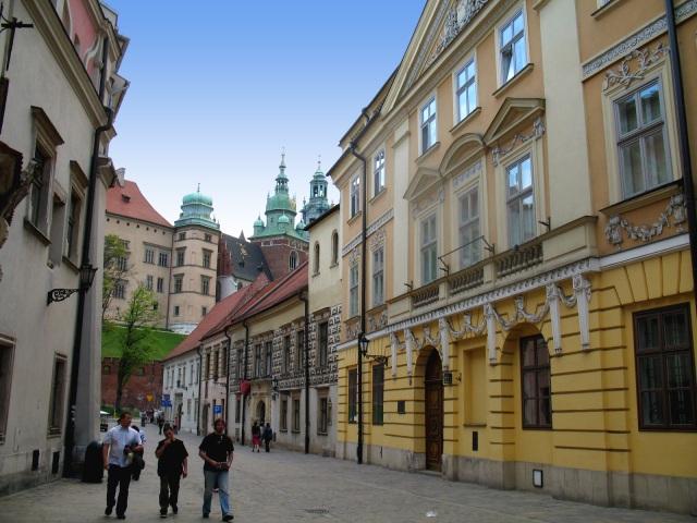 Kanonicza Street in Krakow looking toward Wawel Castle.