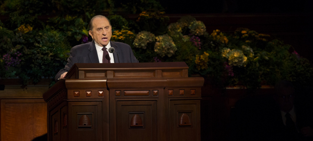 President Thomas S. Monson speaks at general conference, April 2013