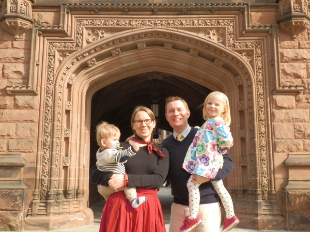 Colin, Susan, Dustin, and Fiona in front of East Pyne Hall on the campus of Princeton University, Princeton, New Jersey, 9 November 2014.
