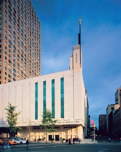 The Manhattan  New York Temple at  125 Columbus Avenue.  The temple sits at the northeast corner of Broadway, Columbus Avenue, and 65th Street, across from Lincoln Center.