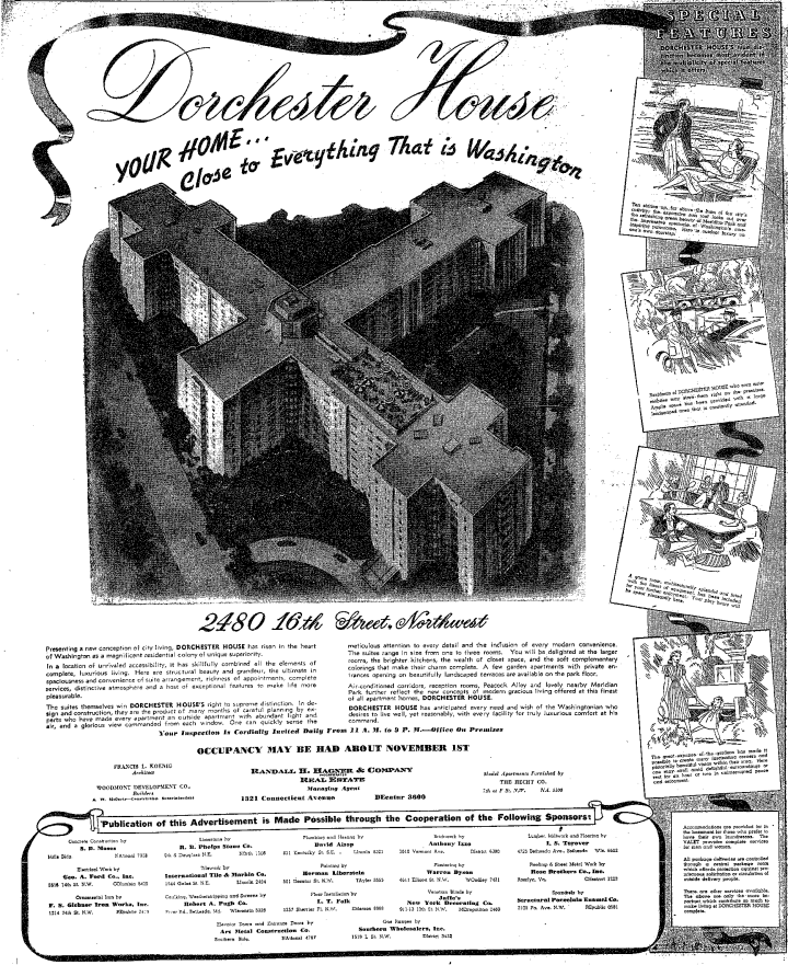 A vintage advertisement for Dorchester House, published shortly before the building opened in 1941.
