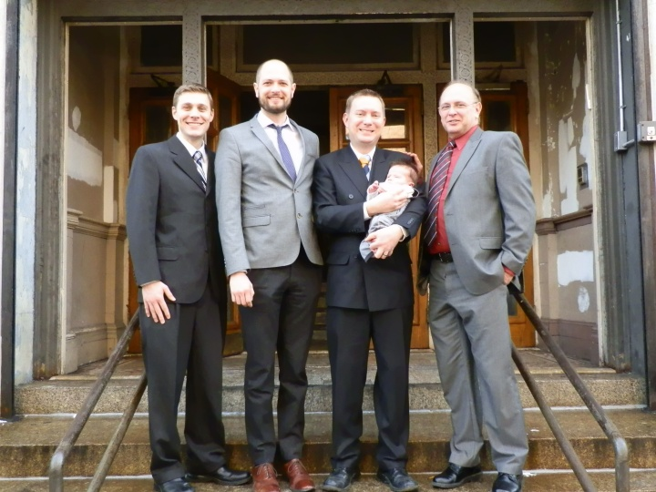 Colin and Dustin with those who participated in his blessing in front of our church building at 185 Marcy Avenue, Brooklyn.
