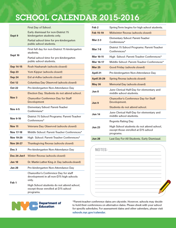 2015–16 New York City schools calendar