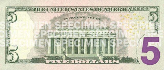 $5 bill, reverse