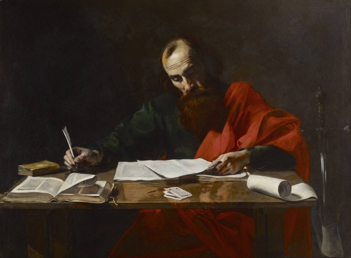 Paul Writing His Epistles, attributed to Valentin de Boulogne
