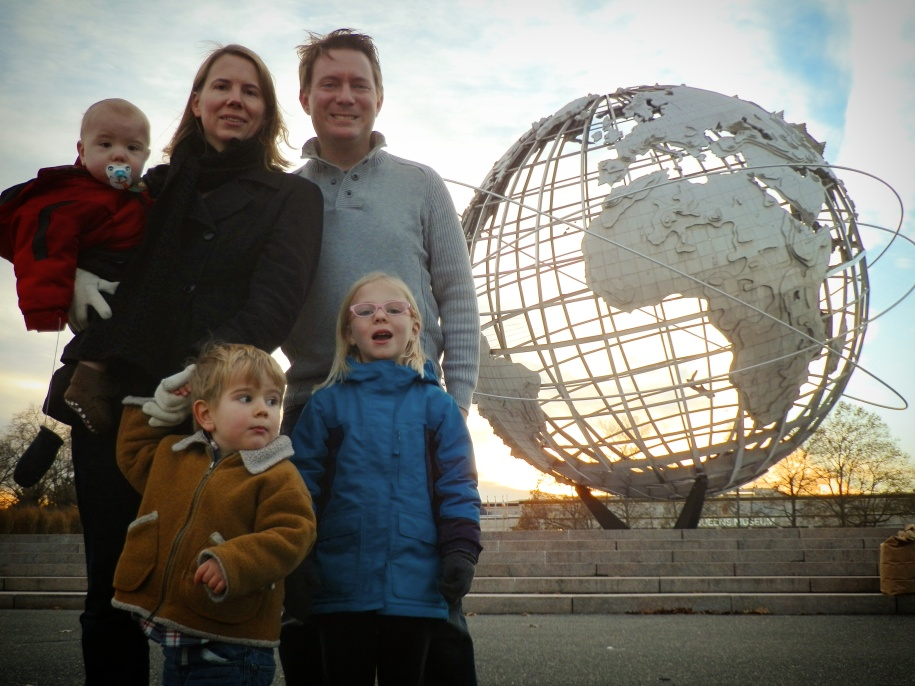 Susan and Dustin with Heath, Colin, and Fiona at the Unisphere in Flushing Meadows–Corona Park, Queens, 8 December 2016. The Unisphere is 43 meters (140 feet) tall and was the centerpiece of the 1964–65 World's Fair.
