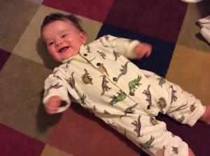 Colin in dinosaur pajamas