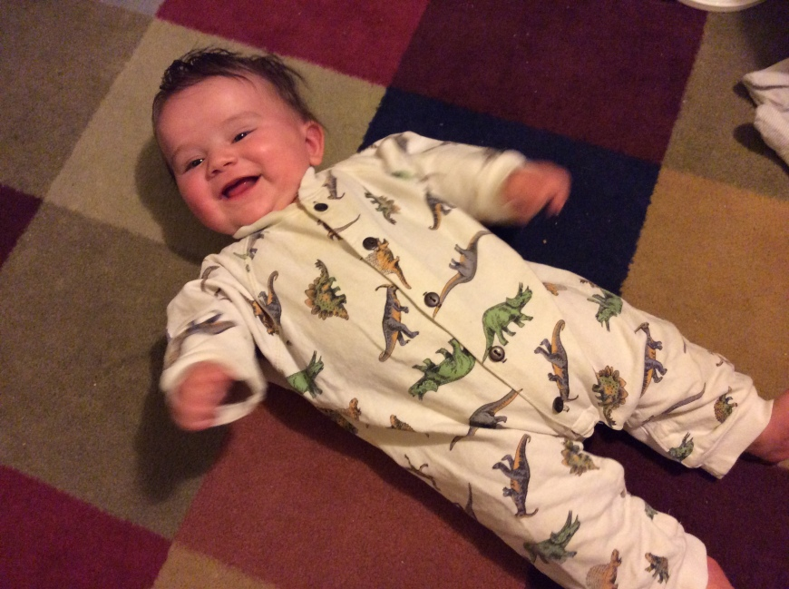 Colin in dinosaur pajamas