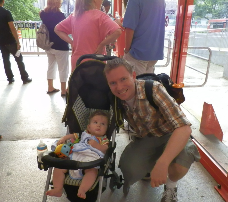Colin and Dustin at the Roosevelt Island Tram, 27 June 2014.