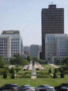 The capitol grounds and downtown Baton Rouge seen from the front steps of the capitol.